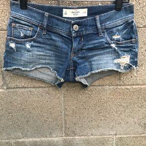 A&F Distress Low Rise Raw Cut Light Blue Shorts 0